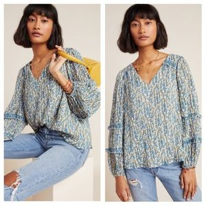 Anthropologie L Avery Pleated Peasant Blouse NWT